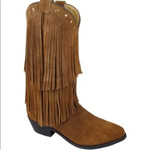 Smoky Mountain Wisteria Brown Fringe Boots 4.5